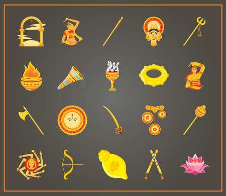 set of icons festival navratri on black background vector illustration design Vetores