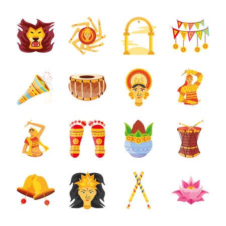 bundle of icons festival navratri on white background vector illustration design