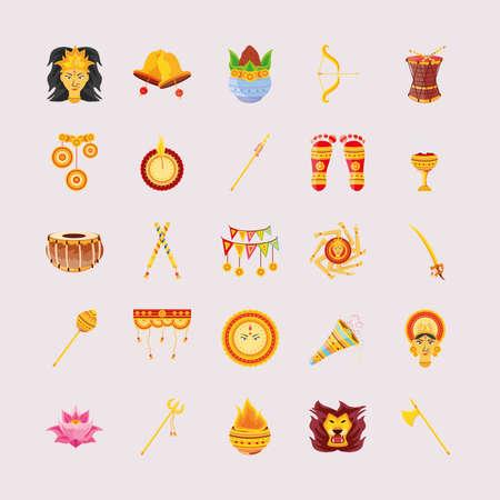 bundle of icons festival navratri vector illustration design Vetores