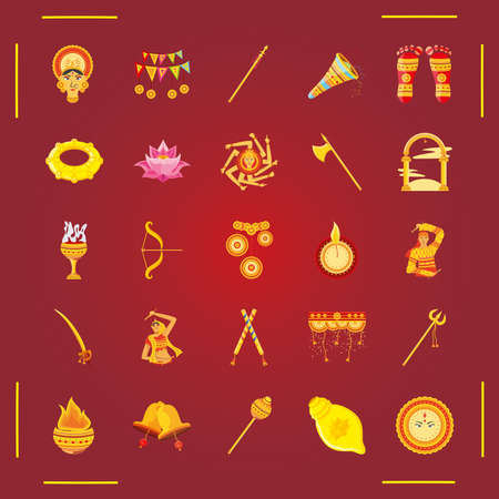 set of icons festival navratri on red background vector illustration design