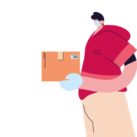 man with face mask, gloves and shipping packages vector illustration desing
