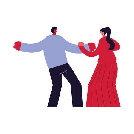couple compromised against increased coronavirus vector illustration design