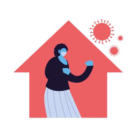woman at home against increased coronavirus vector illustration