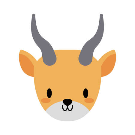 head of yak kawaii, flat style icon vector illustration design 向量圖像