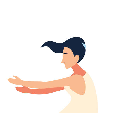 woman doing dance exercises at home vector illustration design Stock Illustratie