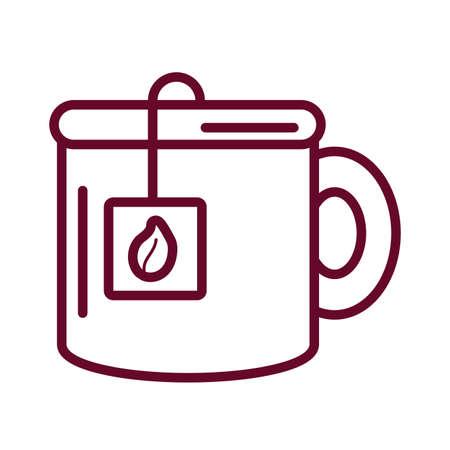 tea mug icon over white background, line style, vector illustration 向量圖像
