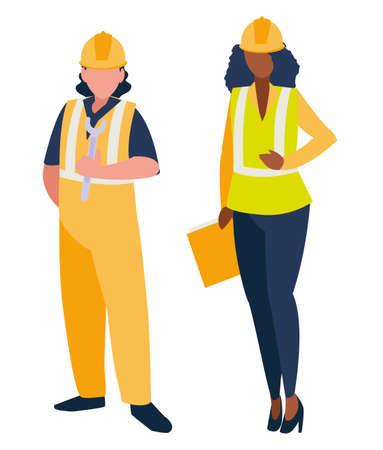 couple of builders working vector illustration design