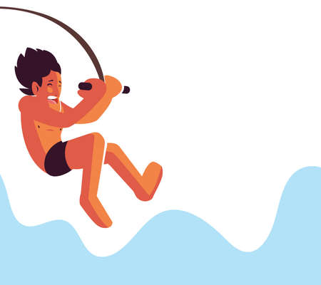 man jumping into the water vector illustration desing