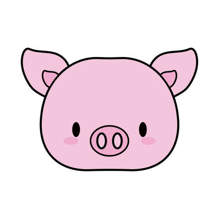 head pig baby kawaii, line and fill style icon vector illustration design