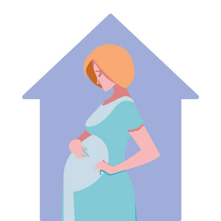 blond pregnant woman cartoon in house design, Belly pregnancy maternity and mother theme Vector illustration