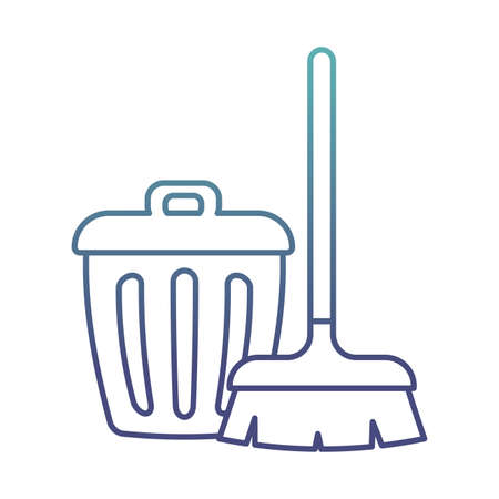 brush and trash degraded line style icon design, Cleaning service wash home and hygiene theme Vector illustration