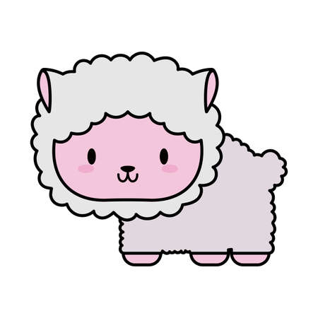 cute sheep baby kawaii, line and fill style icon vector illustration design 向量圖像