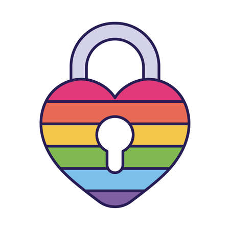 lgtbi heart padlock fill style icon design, Pride day orientation and identity theme Vector illustration