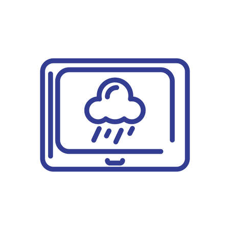 tablet with rainy cloud icon over white background, line style, vector illustration