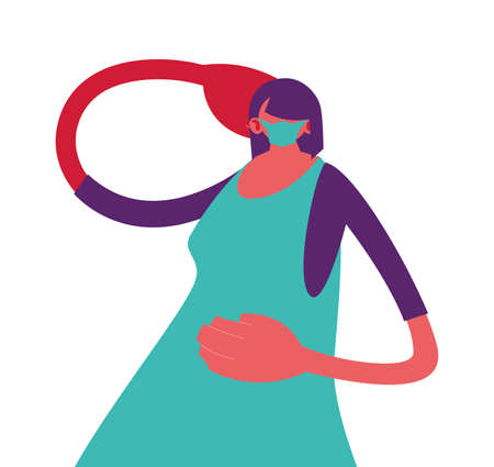 woman with medical mask moving on white background vector illustration design