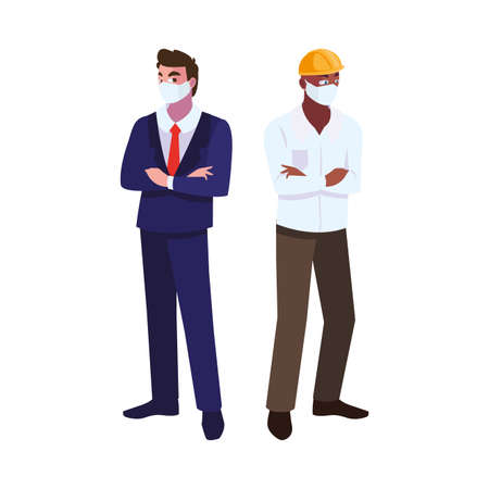 men engineer and executive with mask and helmet vector illustration design 向量圖像