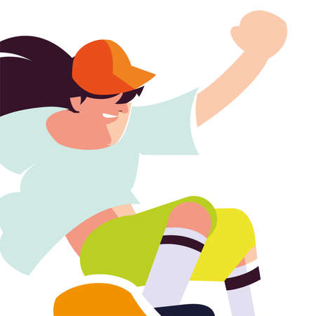 young man playing sport on skateboard vector illustration design