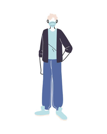 young man with medical mask standing on white background vector illustration design