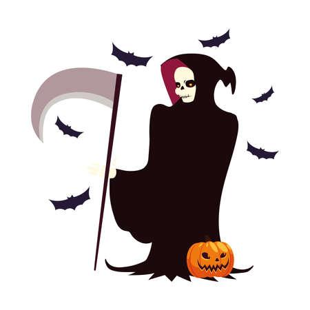 Halloween death cartoon with pumpkin design, Holiday and scary theme Vector illustration Vektorové ilustrace