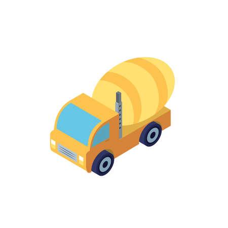 Yellow concrete mixer truck design of Construction working maintenance workshop repairing progress labor and industrial theme Vector illustration