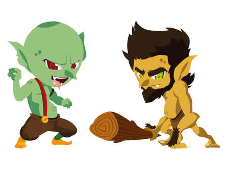 ugly troll with caveman gnome magic characters vector illustration design