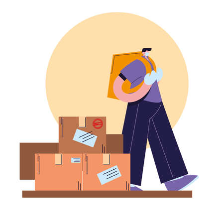 man with face mask, gloves and shipping packagesvector illustration desing