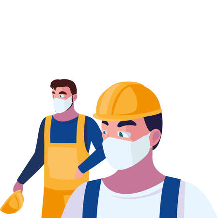 men operators with masks and reflective vests vector illustration design