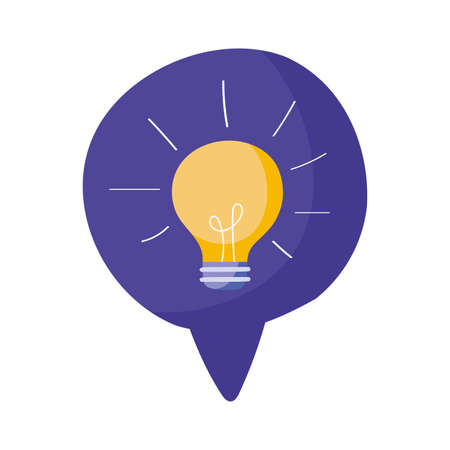 speech bubble with bulb light icon over white background, vector illustration