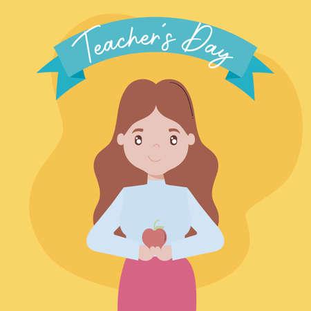 greeting card teacher day with female teacher vector illustration design