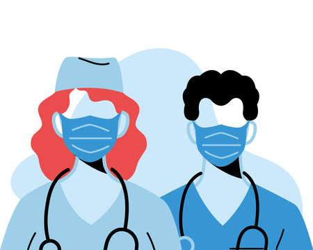 professional doctors wearing face masks vector illustration design Vector Illustration