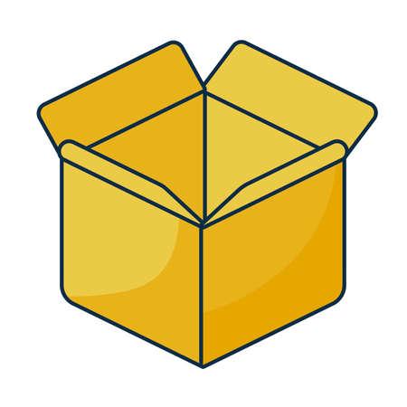 cardboard box open on white background vector illustration design