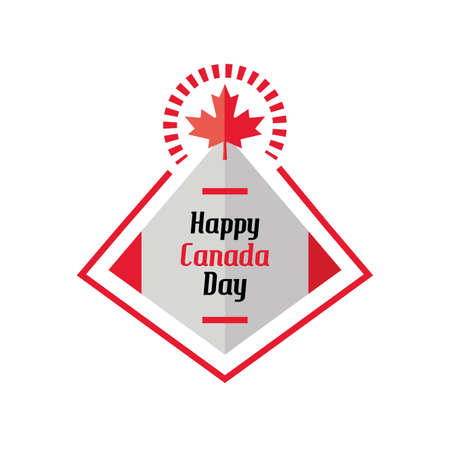 happy canada day label with flag vector illustration design