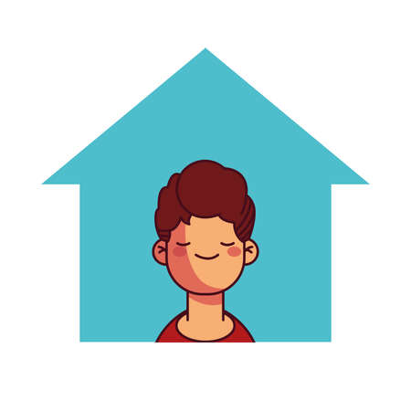 boy at home smiling and calm illustration desing