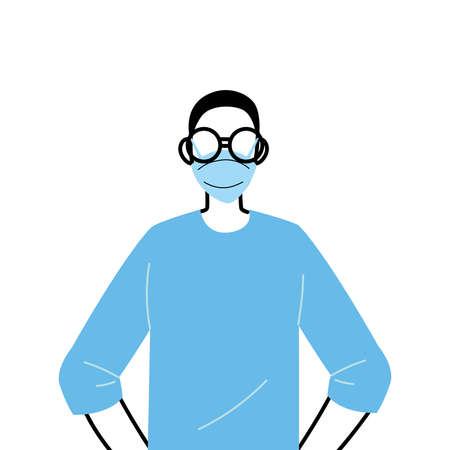 young man wearing face mask to prevent virus vector illustration design