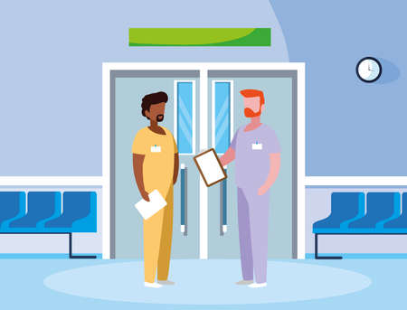 interracial male medicine workers in elevator door vector illustration design