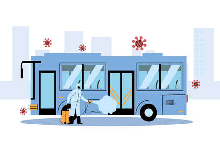 Man wearing protective suit and disinfectant isolated to avoid covid 19, disinfecting bus vector illustration design