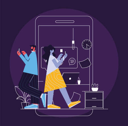 couple connected online by different electronic means vector illustration design
