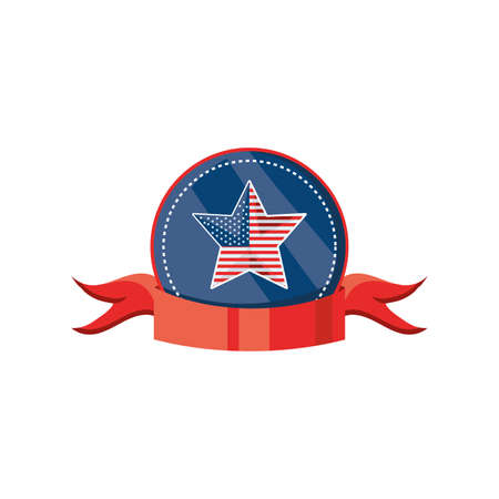 badge with ribbon and american flag on white background vector illustration design Vetores