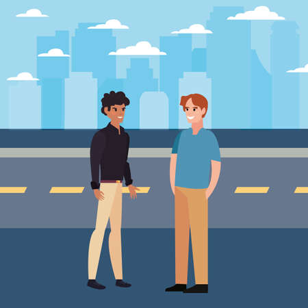 two men in the city street road background vector illustration