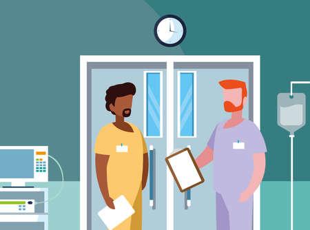 interracial male medicine workers in operating theater vector illustration design Illusztráció
