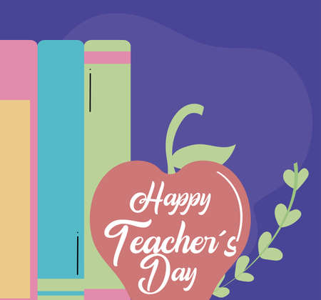 greeting card happy teacher day with apple vector illustration design