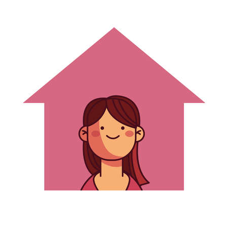 girl at home smiling and calm illustration desing