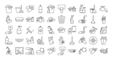 line style icon set design, Cleaning service and covid 19 virus theme Vector illustration 矢量图片