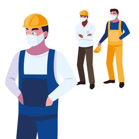 Industry operators wearing face masks at work vector illustration design
