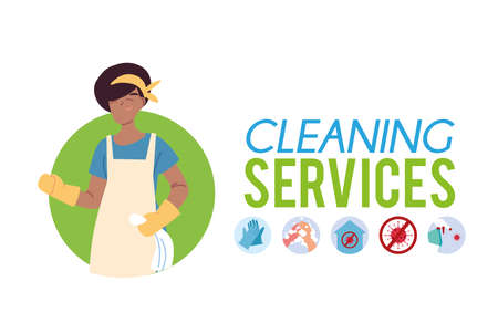 woman working in cleaning service vector illustration desing Vector Illustratie