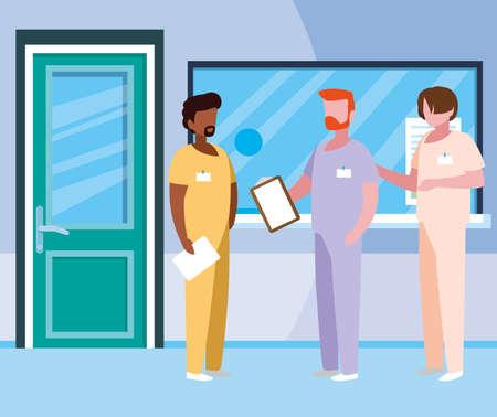 interracial male medicine workers in hospital reception vector illustration design