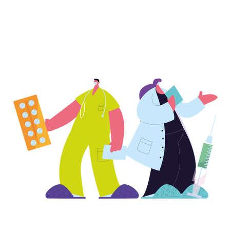 doctor in medical uniform with mask and medicine kit vector illustration design