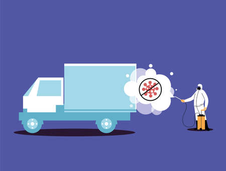 man in suits desinfecting vehicles vector illustration desings