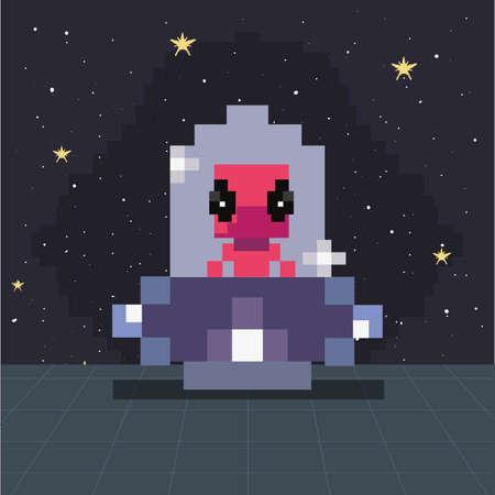 ufo invader battle video game retro vector illustration design