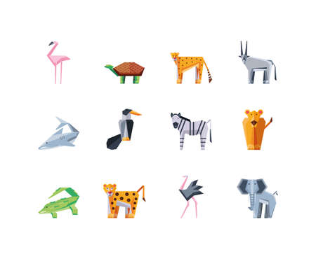 set of icons geometric wild animals vector illustration design